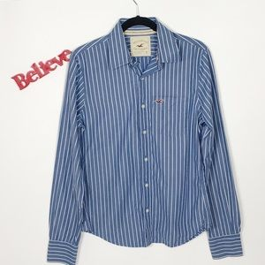Hollister Striped Long Sleeve Button Down Shirt